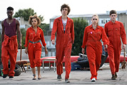 Misfits. Image shows from L to R: Curtis (Nathan Stewart-Jarrett), Alisha (Antonia Thomas), Nathan (Robert Sheehan), Kelly (Lauren Socha), Simon (Iwan Rheon). Copyright: Clerkenwell Films.