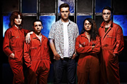 Misfits. Image shows from L to R: Abby (Natasha O'Keeffe), Finn (Nathan McMullen), Alex (Matt Stokoe), Jess (Karla Crome), Rudy (Joseph Gilgun). Copyright: Clerkenwell Films.