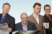 Mock The Week. Image shows from L to R: Rory Bremner, Dara O Briain, Hugh Dennis, Frankie Boyle. Copyright: Angst Productions.