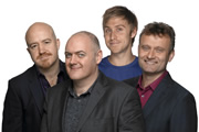 Mock The Week. Image shows from L to R: Andy Parsons, Dara O Briain, Russell Howard, Hugh Dennis. Copyright: Angst Productions.