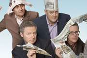 Mock The Week. Image shows from L to R: Hugh Dennis, Rory Bremner, Dara O Briain, Frankie Boyle. Copyright: Angst Productions.