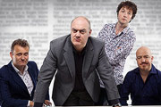 Mock The Week. Image shows from L to R: Hugh Dennis, Dara O'Briain, Chris Addison, Andy Parsons. Image credit: Angst Productions.
