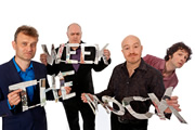 Mock The Week. Image shows from L to R: Hugh Dennis, Dara O Briain, Andy Parsons, Chris Addison. Copyright: Angst Productions.