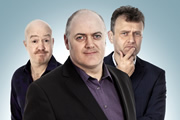 Mock The Week. Image shows from L to R: Andy Parsons, Dara O Briain, Hugh Dennis. Copyright: Angst Productions.