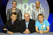 Mock The Week. Image shows from L to R: Frankie Boyle, Hugh Dennis, Dara O Briain, Andy Parsons, Russell Howard. Copyright: Angst Productions.