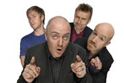 Mock The Week. Image shows from L to R: Russell Howard, Dara O Briain, Hugh Dennis, Andy Parsons. Copyright: Angst Productions.