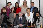 Monday Monday. Image shows from L to R: Alyson Cartmell (Holly Aird), Steven (Tom Ellis), Sally (Morven Christie), Christine Frances (Fay Ripley), Roger Sorsby (Peter Wight), Natasha (Laura Haddock), Jenny Mountfield (Jenny Agutter), Max Chambers (Neil Stuke), Vince (Saikat Ahamed). Image credit: TalkbackThames.