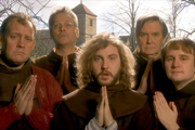 Monks. Image shows from L to R: Brother Bernard (Justin Edwards), Brother Francis (Mark Heap), Brother Gary Woodcroft (Seann Walsh), Father Abbot (James Fleet), Brother Dominic (Fergus Craig). Copyright: BBC.