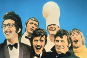 Monty Python's Flying Circus. Image shows from L to R: Eric Idle, Graham Chapman, Michael Palin, John Cleese, Terry Jones, Terry Gilliam. Image credit: British Broadcasting Corporation.