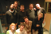 Mr Blue Sky. Image shows from L to R: Kill-R (Javone Prince), Jacqui Easter (Claire Skinner), Dr Ray Marsh (Justin Edwards), Sean Calhoun (Michael Legge), Robbie Easter (Tyger Drew-Honey), Charlie Easter (Rosamund Hanson), Harvey Easter (Mark Benton), Alan Leopold (Simon Day), Lou Easter (Sorcha Cusack). Copyright: Avalon Television.
