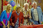 Mrs. Brown's Boys. Image shows from L to R: Cathy Brown (Jennifer Gibney), Agnes Brown (Brendan O'Carroll), Rory Brown (Rory Cowan), Mark Brown (Pat Shields). Copyright: BBC / BocPix.