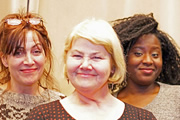 Mrs Pickwick's Papers. Image shows from L to R: Tracy Tupman (Jane Slavin), Mrs Pickwick (Annette Badland), Sam Weller (Susan Wokoma). Copyright: BBC.