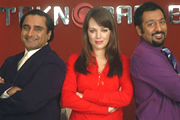 Mumbai Calling. Image shows from L to R: Kenny Gupta (Sanjeev Bhaskar), Terri Johnson (Daisy Beaumont), Dev (Nitin Ganatra). Image credit: Allan McKeown Presents.