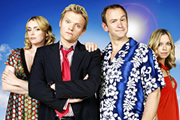 Mutual Friends. Image shows from L to R: Jen Grantham (Keeley Hawes), Martin Grantham (Marc Warren), Patrick Turner (Alexander Armstrong), Liz (Sarah Alexander). Image credit: Hat Trick Productions.