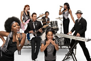 My Almost Famous Family. Image shows from L to R: Aretha (Dominique Moore), Toyah (Naomi Battrick), Hadley (Angus Harrison), Isaac (Matt Morgan), Martha (Rachel Brady), Shalondra Swann (Rakie Ayola), Gary Swann (Andrew Clover).
