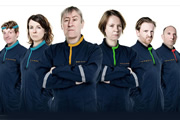 My First Planet. Image shows from L to R: Richard (John Dorney), Carol (Cariad Lloyd), Brian (Nicholas Lyndhurst), Lillian (Vicki Pepperdine), Mason (Tom Goodman-Hill), Archer (Phil Whelans). Copyright: Pozzitive Productions.
