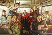My Mad Fat Diary. Image shows from L to R: Archie (Dan Cohen), Chop (Jordan Murphy), Chloe (Jodie Comer), Danny Two Hats (Darren Evans), Izzy (Ciara Baxendale), Rae Earl (Sharon Rooney), Finn (Nico Mirallegro). Image credit: Tiger Aspect Productions.