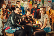 My Mad Fat Diary. Image shows from L to R: Izzy (Ciara Baxendale), Rae Earl (Sharon Rooney), Archie (Dan Cohen), Finn (Nico Mirallegro), Unknown, Chloe (Jodie Comer), Unknown. Copyright: Tiger Aspect Productions.