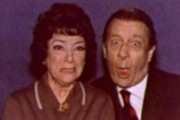 Nearest And Dearest. Image shows from L to R: Nellie Pledge (Hylda Baker), Eli Pledge (Jimmy Jewel). Image credit: Granada Television.