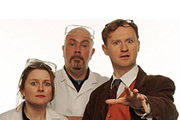 Nebulous. Image shows from L to R: Paula Breeze (Rosie Cavaliero), Rory Lawson (Graham Duff), Professor Nebulous (Mark Gatiss). Image credit: British Broadcasting Corporation.