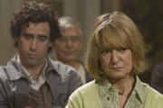 Never Better. Image shows from L to R: Keith Merchant (Stephen Mangan), Janice (Joanna David). Image credit: World Productions.