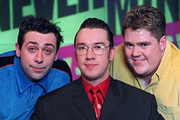 Never Mind The Buzzcocks. Image shows from L to R: Sean Hughes, Mark Lamarr, Phill Jupitus. Copyright: TalkbackThames / BBC.