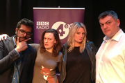 Newsjack. Image shows from L to R: Romesh Ranganathan, Margaret Cabourn-Smith, Morgana Robinson, Lewis Macleod. Copyright: BBC.