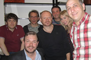 No Pressure To Be Funny - Series 2, Episode 4. Image shows from L to R: Elis James, James O'Brien, Nick Revell, Alistair Barrie, Mark Thomas, Tiffany Stevenson, Dave Cohen.