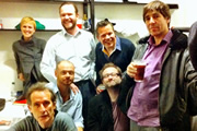 No Pressure To Be Funny - Series 2, Episode 5. Image shows from L to R: Holly Walsh, Nick Revell, Alistair Barrie, James O'Brien, Rob Deering, Matthew Norman, Mark Steel.