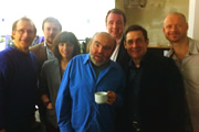 No Pressure To Be Funny - Series 3, Episode 2. Image shows from L to R: Nick Revell, James Sherwood, Bridget Christie, Andy Hamilton, Matt Forde, Paul Mason, Alistair Barrie.