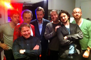 No Pressure To Be Funny - Series 3, Episode 3. Image shows from L to R: Nick Doody, Nick Revell, Steve Gribbin, James O'Brien, Kevin Day, Lee Camp, Alistair Barrie.
