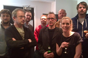 No Pressure To Be Funny. Image shows from L to R: James Sherwood, Robin Ince, James O'Brien, Matthew Norman, Nick Revell, Alistair Barrie, Sara Pascoe, Pete Johansson.