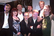 No Pressure To Be Funny. Image shows from L to R: James O'Brien, Angela Barnes, Alistair Barrie, Nick Revell, Rich Peppiatt, Steve Gribbin, Dan Smith, Richard Herring.