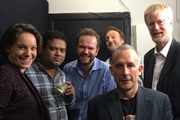 No Pressure To Be Funny. Image shows from L to R: Suzi Ruffell, Paul Sinha, James O'Brien, Mitch Benn, Nick Revell, Dan Smith.