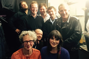 No Pressure To Be Funny. Image shows from L to R: James Sherwood, Bea Campbell, James O'Brien, Alistair Barrie, Tobias Persson, Trevor Crook, Aisling Bea, Nick Revell.