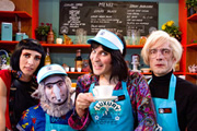 Noel Fielding's Luxury Comedy. Image shows from L to R: Dolly Wells, Michael Fielding, Noel Fielding, Tom Meeten. Image credit: Secret Peter.