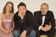 Not Going Out. Image shows from L to R: Lucy (Sally Bretton), Lee (Lee Mack), Tim (Tim Vine). Image credit: Avalon Television.