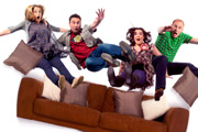 Not Going Out. Image shows from L to R: Lucy (Sally Bretton), Lee (Lee Mack), Daisy (Katy Wix), Tim (Tim Vine). Image credit: Avalon Television.