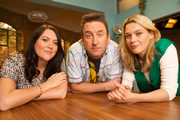 Not Going Out. Image shows from L to R: Daisy (Katy Wix), Lee (Lee Mack), Lucy (Sally Bretton). Image credit: Avalon Television.