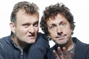 The Now Show. Image shows from L to R: Hugh Dennis, Steve Punt. Copyright: BBC.