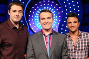 Odd One In. Image shows from L to R: Jason Manford, Bradley Walsh, Peter Andre. Image credit: Zeppotron.