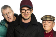 Only Fools And Horses. Image shows from L to R: Rodney (Nicholas Lyndhurst), David Beckham, Del (David Jason). Copyright: BBC.