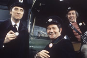 On The Buses. Image shows from L to R: Inspector Blake (Stephen Lewis), Stan Butler (Reg Varney), Jack Harper (Bob Grant). Copyright: Anglo-EMI / Hammer Film Productions.
