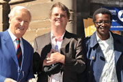 On The Fringe With Stephen K Amos. Image shows from L to R: Nicholas Parsons, Paul Merton, Stephen K Amos. Copyright: BBC.