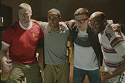 One Night In Istanbul. Image shows from L to R: Tommy (Steven Waddington), Joseph (Lucien Laviscount), Jamie (Marc Hughes), Gerry (Paul Barber). Copyright: Stray Dogs Films.
