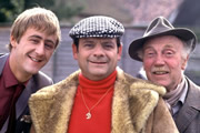 Only Fools And Horses. Image shows from L to R: Rodney (Nicholas Lyndhurst), Del (David Jason), Grandad (Lennard Pearce). Image credit: British Broadcasting Corporation.
