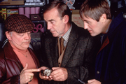 Only Fools And Horses. Image shows from L to R: Del (David Jason), Auctioneer (Seymour Matthews), Rodney (Nicholas Lyndhurst).