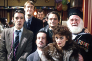 Only Fools And Horses. Image shows from L to R: Trigger (Roger Lloyd-Pack), Rodney (Nicholas Lyndhurst), Mike (Kenneth MacDonald), Boycie (John Challis), Del (David Jason), Marlene (Sue Holderness), Uncle Albert (Buster Merryfield). Copyright: BBC.
