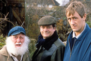 Only Fools And Horses. Image shows from L to R: Uncle Albert (Buster Merryfield), Del (David Jason), Rodney (Nicholas Lyndhurst). Copyright: BBC.