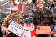 Only Fools And Horses. Image shows from L to R: Del (David Jason), Uncle Albert (Buster Merryfield), Rodney (Nicholas Lyndhurst). Copyright: BBC.